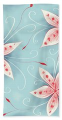 Beautiful Abstract White Red Flowers Bath Towel