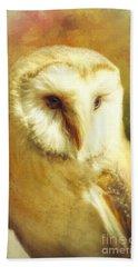 Beautiful Barn Owl Bath Towel by Tina LeCour