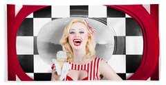 Beautiful Blonde Woman Serving Ice Cream Hand Towel