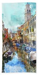 Beautiful Boats In Venice, Italy Hand Towel