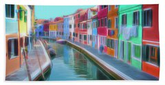 Bath Towel featuring the digital art Beautiful Burano Venice Italy by Jack Torcello