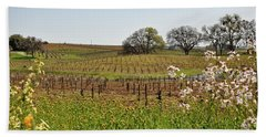 Beautiful California Vineyard Framed With Flowers Bath Towel