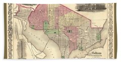 Beautiful Collectable Vintage Wall Map Of Old Washington Dc With Landmarks And Monuments Bath Towel