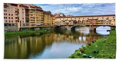 Ponte Vecchio On A Spring Day In Florence, Italy Hand Towel
