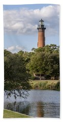 Beautiful Day At Currituck Beach Lighthouse Hand Towel