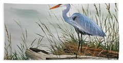 Beautiful Heron Shore Hand Towel by James Williamson