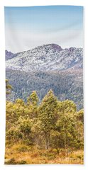 Beautiful Landscape With Partly Snowed Mountain  Hand Towel