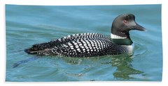 Beautiful Loon Bath Towel by Debbie Stahre