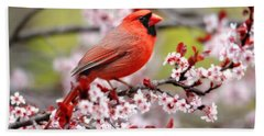 Beautiful Northern Cardinal Bath Towel