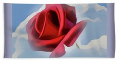 Beautiful Red Rose Cuddled By Cumulus Bath Towel