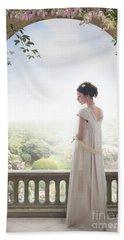 Beautiful Regency Woman Beneath A Wisteria Arch Bath Towel