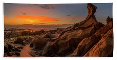 Hand Towel featuring the photograph Beautiful Rocky Tindakon Beach Sunset View In Kudat Malaysia by Pradeep Raja PRINTS