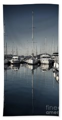 Beautiful Sailboats In The Harbor Hand Towel