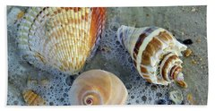 Beautiful Shells In The Surf Bath Towel by D Hackett