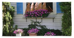 Beautiful Ship Flower Boxes Hand Towel by Living Color Photography Lorraine Lynch
