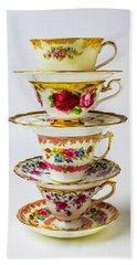 Beautiful Stacked Tea Cups Hand Towel