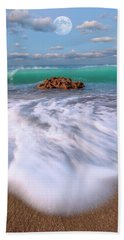 Beautiful Waves Under Full Moon At Coral Cove Beach In Jupiter, Florida Hand Towel by Justin Kelefas