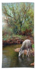 Beautiful White Horse And Enchanting Spring Hand Towel