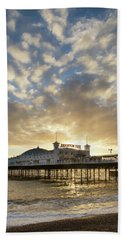 Beautiful Winter Sunset Landscape Of Brighton Pier On The South  Hand Towel