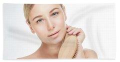 Beautiful Woman Combing Her Hair Bath Towel