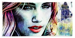 Bath Towel featuring the digital art Beautiful Woman by Zedi