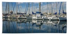 Beautiful Yachts Moored In The Marina Hand Towel
