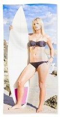 Beautiful Young Blond Surf Woman Bath Towel