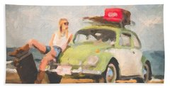 Bath Towel featuring the digital art Beauty And The Beetle - Road Trip No.1 by Serge Averbukh