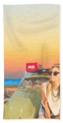 Bath Towel featuring the digital art Beauty And The Beetle - Road Trip No.2 by Serge Averbukh