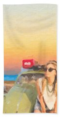 Hand Towel featuring the digital art Beauty And The Beetle - Road Trip No.2 by Serge Averbukh