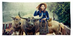 Beauty And The Water Buffalo Hand Towel