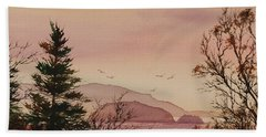 Hand Towel featuring the painting Beauty At The Shore by James Williamson