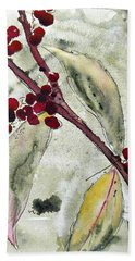 Beauty Berry Branch Bath Towel by Dawn Derman