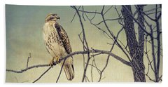 Red-tailed Hawk On Watch Bath Towel