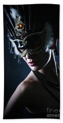 Bath Towel featuring the photograph Beauty Model Wearing Venetian Masquerade Carnival Mask by Dimitar Hristov