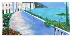 Hand Towel featuring the painting Beauty Of The Riviera by Larry Cirigliano