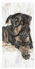 Beauty Pose - Doberman Pinscher Dog With Natural Ears Hand Towel