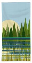 Beaver Pond - Vertical Bath Towel by Val Arie