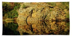 Beaver's Bend Rock Wall Reflection Hand Towel