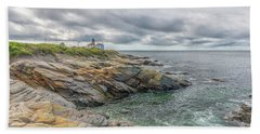Beavertail Lighthouse On Narragansett Bay Bath Towel