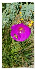 Bath Towel featuring the photograph Bee And Flower  by Jasna Gopic