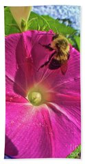 Bee And Morning Glory Hand Towel by Todd Breitling