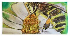 Bee Collecting Nectar And Pollen Hand Towel