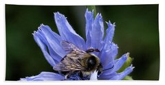 Hand Towel featuring the photograph Bee Flower by Nikki McInnes