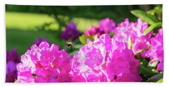 Bee Flying Over Catawba Rhododendron Hand Towel