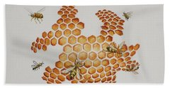 Bee Hive # 1 Bath Towel by Katherine Young-Beck