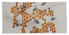 Hand Towel featuring the painting Bee Hive # 2 by Katherine Young-Beck