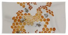 Hand Towel featuring the painting Bee Hive # 5 by Katherine Young-Beck
