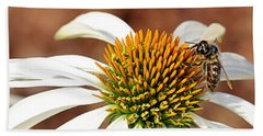 Hand Towel featuring the photograph Bee In The Echinacea  by AJ Schibig