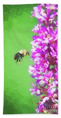 Bee Kissing A Flower Bath Towel